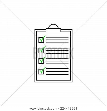 Ckecklist icon. Vector blank. Clipboard with checkboxes and checkmarks. Illustartion on white background.