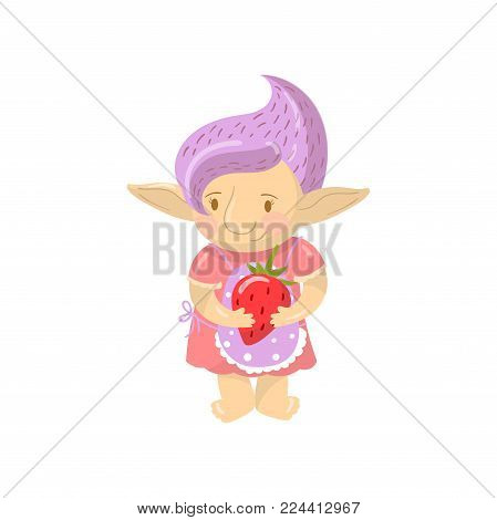 Cute troll girl character holding strawberry, funny creature with violet hair cartoon vector Illustration on a white background