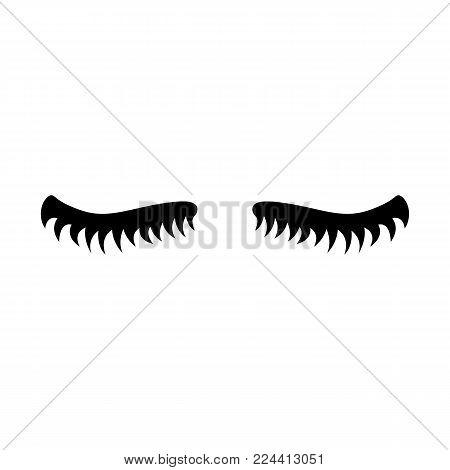 Eyelash. Cute eyelashes. Black lashes. Vector icon on white background