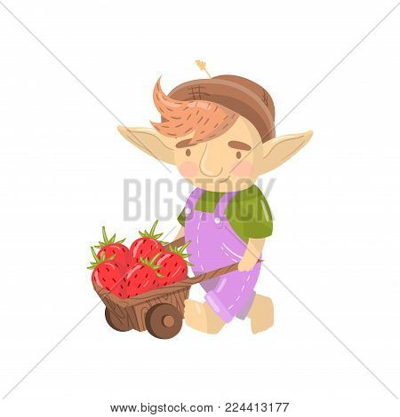 Cute troll boy character with wooden cart full of strawberries, funny creature cartoon vector Illustration on a white background