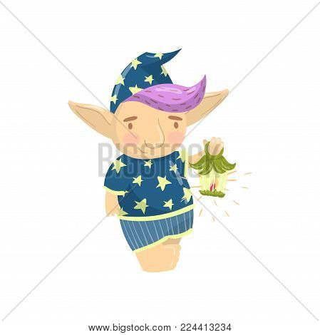Cute troll character in blue pajamas holding oil lantern, funny creature with colored hair cartoon vector Illustration on a white background