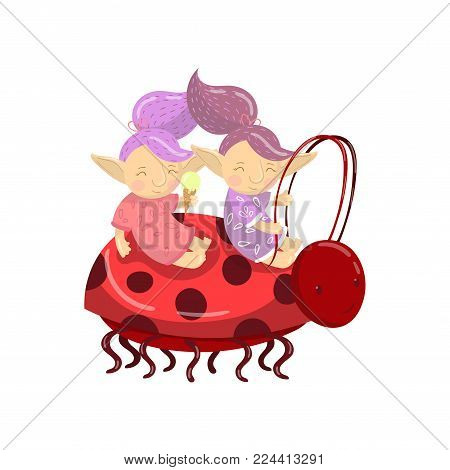 Cute troll girl characters riding on ladybug cartoon vector Illustration on a white background