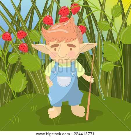 Cute troll boy character, funny creature standing with fishing rod on the backround of field of strawberry colorful vector illustration in cartoon style.