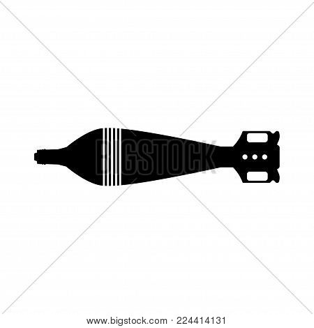Black silhouette of tank mine. Army rocket explosive. Weapon icon. Military object. Vector illustration