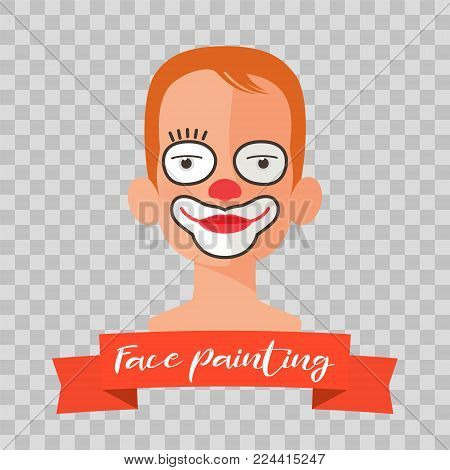 Kid with clown face painting vector illustrations on transparent background. Child face with mask makeup painted for kids party