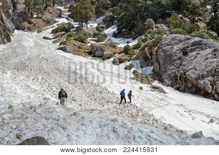 Trekking On Snow Mountains