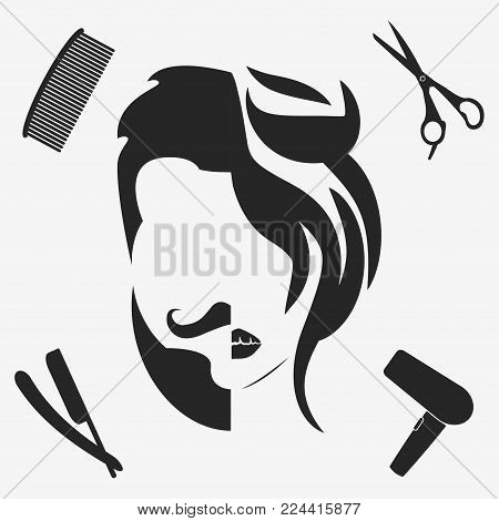 Man and woman hairstyle silhouette. Beauty salon, hairdresser, barbershop logo