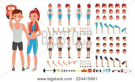 Fitness Girl, Man Vector. Animated Sport Male, Female Character Creation Set. Full Length, Front, Side, Back View, Accessories, Poses, Face Emotions Gestures Isolated Cartoon Illustration