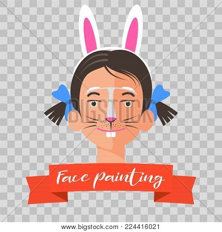 Kid with rabbit face painting vector illustrations on transparent background. Child face with animal makeup painted for kids party