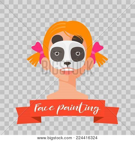 Kid with panda face painting vector illustrations on transparent background. Child face with animal makeup painted for kids party
