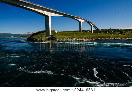 View to sea inflow Saltstraumen whirlpools, Norway