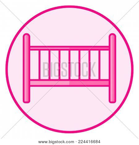 Cradle. Pink baby icon on a white background, line art vector design.