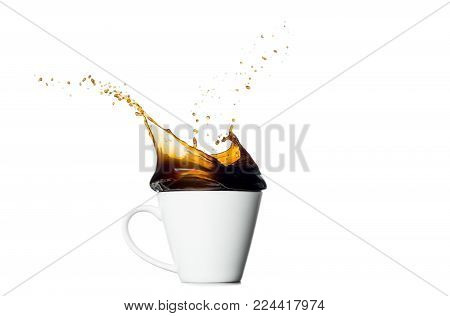 cup of splashing coffee isolated on white background.