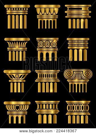 Shiny golden ancient rome architecture column collection on black. Vector illustration