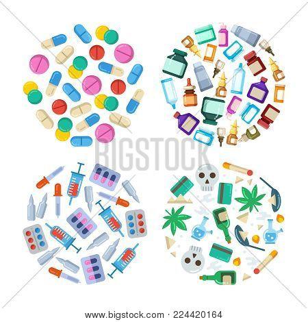 Medicine cartoon pill, drug, table, antibiotics, medication dose flat round concepts. Vector illustration