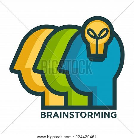 Brainstorming head and idea lamp logo template for creative art or brainstorm concept. Vector isolated icon of human brain heads with inspiration thinking and smart innovation idea