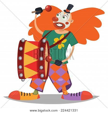 Circus clown playing on drum. Vector cartoon character isolated on a white background.
