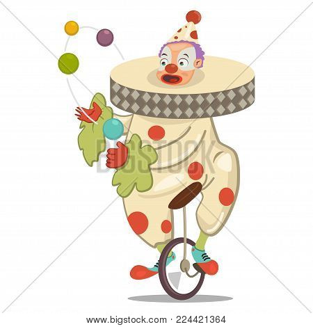 Circus clown juggling on a unicycle. Vector cartoon character isolated on a white background.