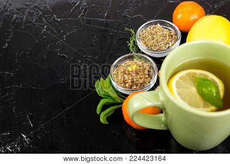 Concept of natural medicine. Natural remedies for colds.