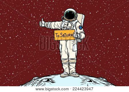 Astronaut hitch rides on Saturn. Pop art retro vector illustration