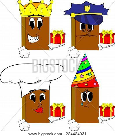 Books holding small gift box. Cartoon book collection with costume faces. Expressions vector set.