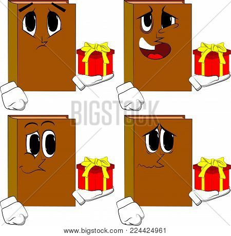 Books holding small gift box. Cartoon book collection with sad faces. Expressions vector set.