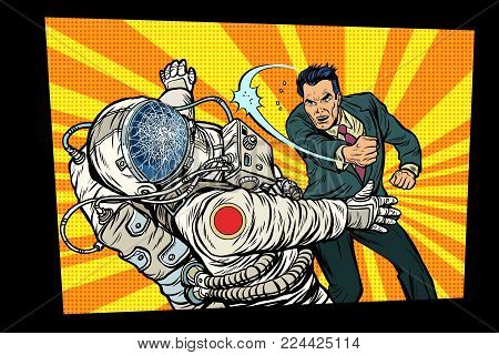 man vs astronaut, fight. Pop art retro comic book vector cartoon vector illustration hand drawing