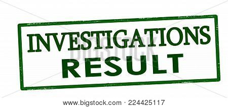 Rubber stamp with text investigations result inside, vector illustration