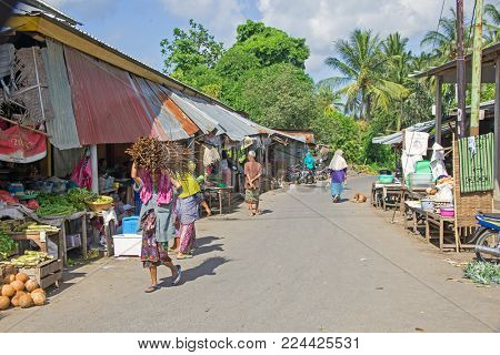 LOMBOK, INDONESIA - DECEMBER 29, 2016: Street scenery on the market in Lombok, Indonesia on 29th december 2016