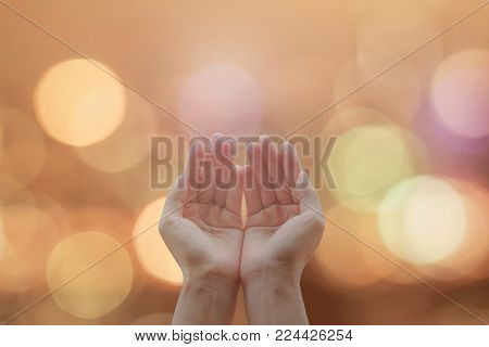 Women prayer hand praying for peace and for holy spirit week, world religion day, and eid mubarak concept