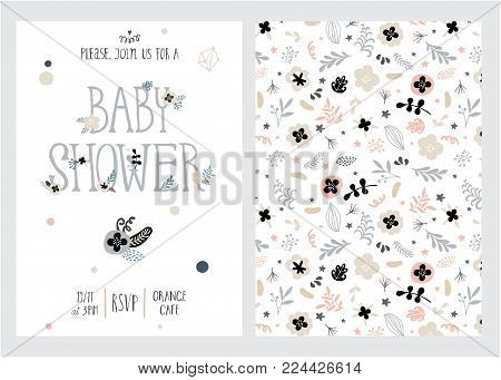 Baby shower girl and boy posters, vector templates. Vintage style with leaves, flowers, lettering. Cards with hand drawn text and elements on white background