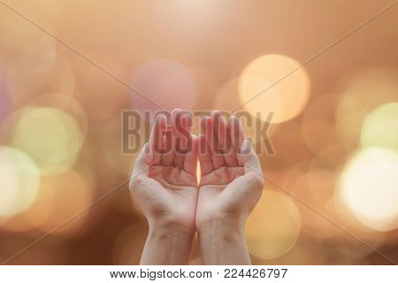 Women Prayer Hand Praying With Bokeh Background For Holy Spirit And World Religion Day Concept