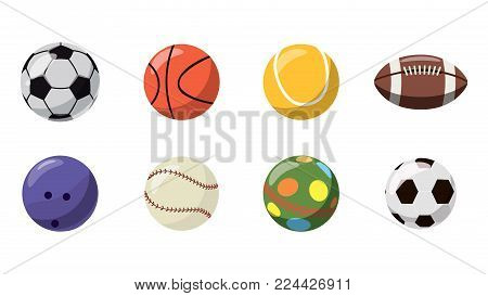 Balls icon set. Cartoon set of balls vector icons for web design isolated on white background
