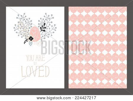 Vector set of post cards, invitations with hand drawn lettering, flowers and decorative elements i pastel colors. Romantic modern geometric and trendy banners, love messages. Fashionable greeting card design templates, flyers, invitation