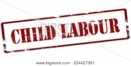 Rubber stamp with text child labour inside, vector illustration