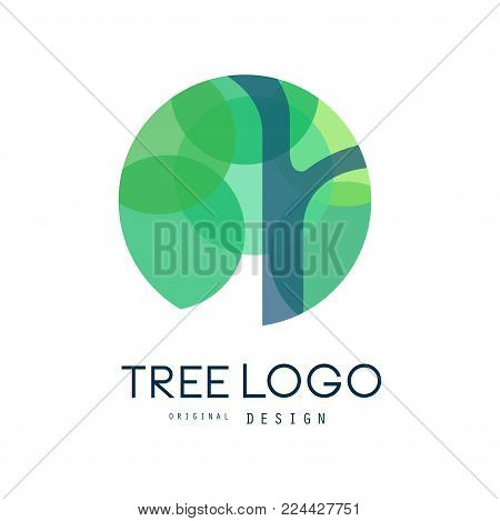 Green tree logo original design, green eco circle badge, abstract organic element vector illustration isolated on a white background