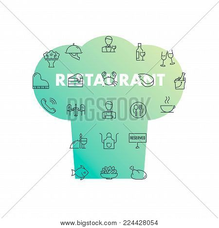 Line icons in chef's hat shape. Restaurant pack. Vector illustration with food and drinks