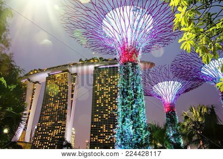 SINGAPORE - JANUARY 11, 2018: Gardens by the Bay and Marina Bay Sands hotel in Singapore. Singapore city skyline at dusk.