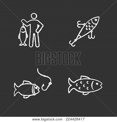 Fishing chalk icons set. Fisherman, lure, fish and hook. Isolated vector chalkboard illustrations