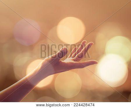 Women Prayer Hand Reaching Upward For Holy Spirit And World Religion Day Concept
