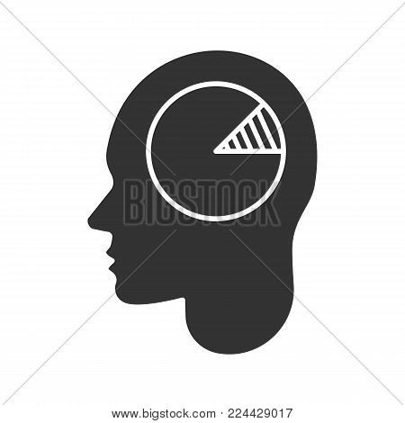 Human head with chart inside glyph icon. Analytical mind. Silhouette symbol. Economist, accountant. Negative space. Vector isolated illustration