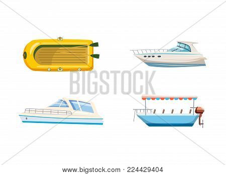 Boat icon set. Cartoon set of boat vector icons for web design isolated on white background