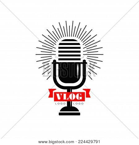 Vlog and blog logo design with black retro microphone and red ribbon. Original emblem for Youtube video channel, online broadcast or live stream. Vector illustration isolated on white background.