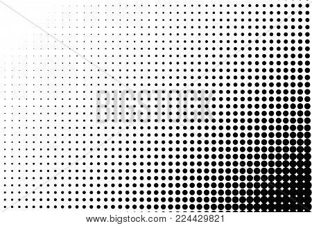 Halftone vector background. Digital gradient. Dotted pattern with circles, dots, point large scale. Design element for web banners, posters, cards, wallpapers, sites, panels. Black and white color