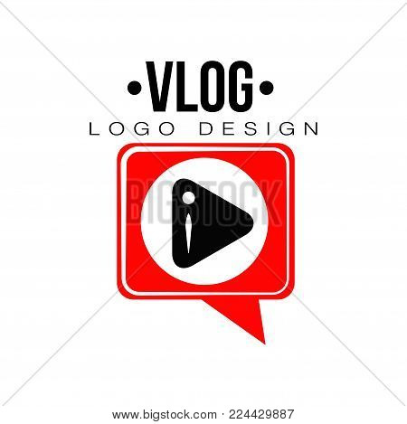 Flat emblem with black play button in red speech bubble. Videoblogging concept. Geometric logo for video channel, live stream or online broadcast. Vector illustration isolated on white background
