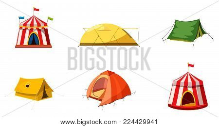 Tent icon set. Cartoon set of tent vector icons for web design isolated on white background