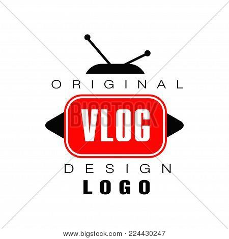 Modern logo design for vlog or videoblog. Emblem with TV antenna, play buttons and place for text. Internet video channel label. Visual-communication blog. Vector illustration isolated on white.