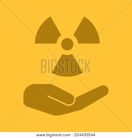 Open with atomic power sign glyph color icon. Atomic energy using. Silhouette symbol. Safe nuclear power. Negative space. Vector isolated illustration