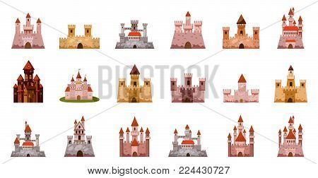 Medieval castle icon set. Cartoon set of medieval castle vector icons for web design isolated on white background
