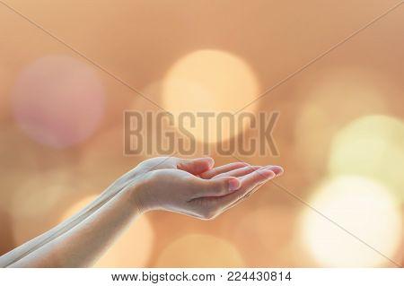 Women prayer hand praying for charity, holy spirit concept
